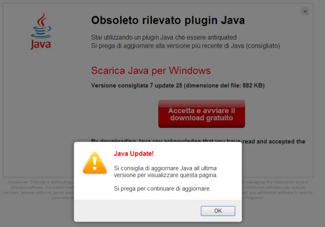 """Aggiornare il """"Plugin Java"""" è un virus"""